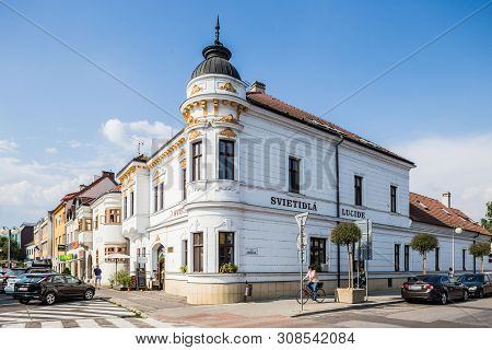 Nitra, Slovakia - August 03, 2015: Pezinok, Slovakia. One Of The Beauty Tenement Houses In Pezinok,