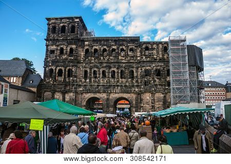 Trier, Germany- September 29: People In Front Of  Ancient Porta  In Trier, Germany, On September 29,