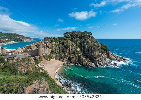 Aerial View Of Fortress Vila Vella And Badia De Tossa Bay At Summer In Tossa De Mar On Costa Brava,