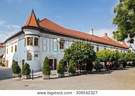 Pezinok, Slovakia  - August 03. Pezinok - Old Town Hall In Pezinok City - Locatec About 20 Km From C