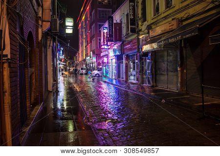 Trabzon, Turkey - February 18: Night View Of A Narrow Street In Trabzon, Turkey On February 18, 2013