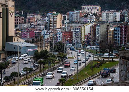 Trabzon, Turkey - February 19: Road Traffic In Trabzon, Turkey On February 19, 2013. Trabzon Is A Ci