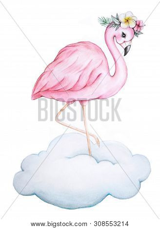 Flamingo Watercolor Illustration. Pink Flamingo Hand Drawing. Flamingo Character And Exotic Flowers