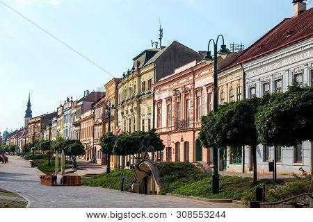Presov, Slovakia. 09 August 2015. Row Of Color Tenement Houses On Main Square In Presov City, Slovak