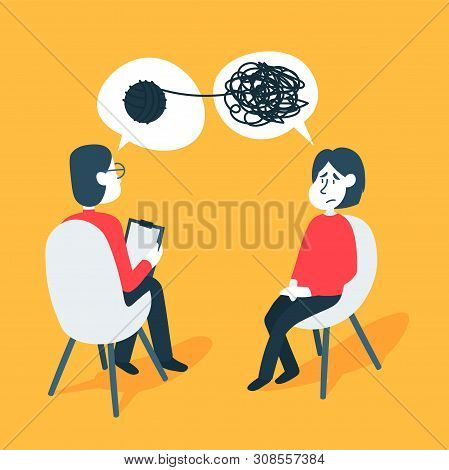 Psychotherapy Counseling Concept. Psychologist Man And Young Woman Patient In Therapy Session. Treat