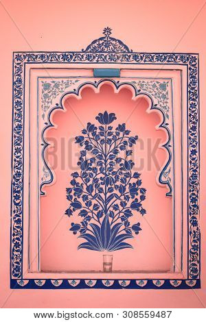 Udaipur, Rajasthan, India - 25 June 2019: Abstract Background Of Floral Design On Pink Wall At Rajas