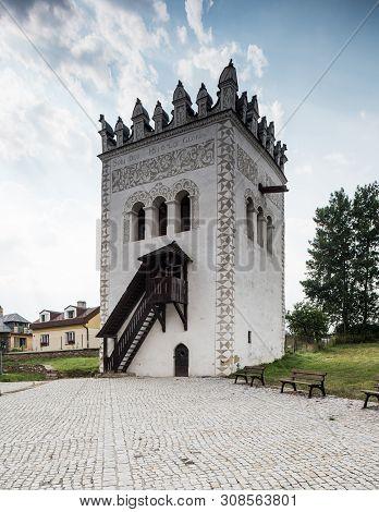 Strazky. Slovakia. 10 August 2015. Strazky Castle Tower. Strazky, Slovakia