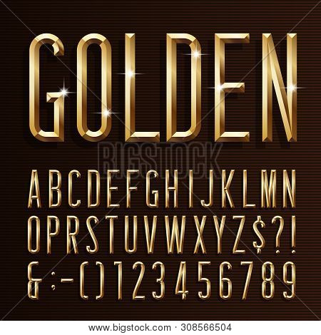 Gold Alphabet Narrow Font. 3d Beveled Gold Effect Letters, Numbers And Symbols. Stock Vector Typescr