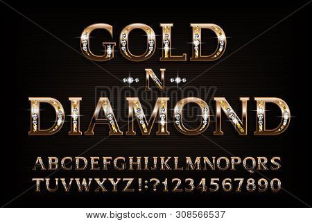 Gold N Diamond Alphabet Font. Serif Golden Letters And Numbers With Diamond Gemstone. Stock Vector T