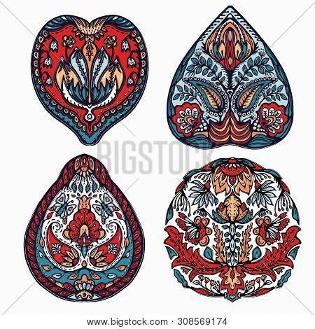 Floral Leaf Mandala Eastern European Style. Hand Drawn Lino Cut Block Print. Ornate Arabesque Flower