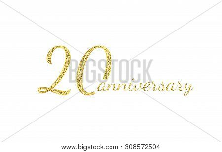 20 Anniversary Logo Concept. 20th Years Birthday Icon. Isolated Golden Numbers On Black Background.