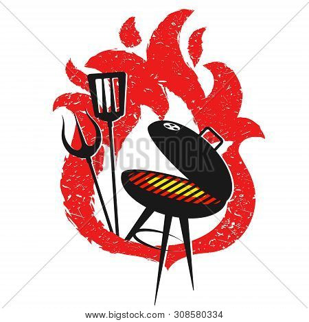 Grill With Tools And Fire Red Design For Bbq