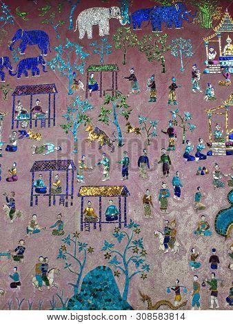 Mosaics At Red Chapel At Wat Xieng Thong Temple Complex In Luang Prabang, Laos