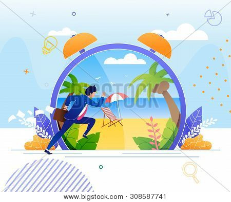 Businessman Hurrying To Rest On Tropical Beach. Huge Cartoon Alarm Clock With Seaside Panoramic View