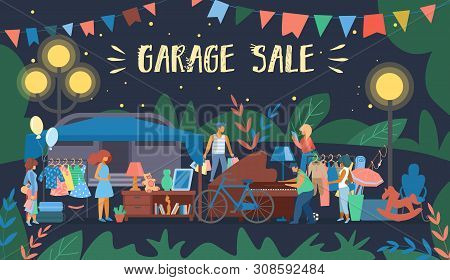 Invitation Flyer Is Written Garage Sale Cartoon. Retro Poster Night Sale Second Things And Furniture