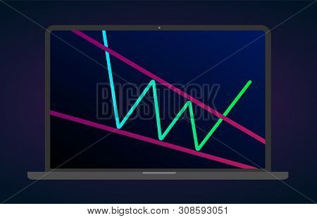 Descending Wedge Pattern Figure Technical Analysis. Vector Stock And Cryptocurrency Exchange Graph,