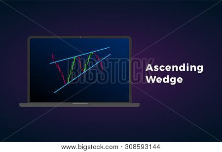 Ascending Wedge Pattern Figure Technical Analysis With Laptop. Vector Stock And Cryptocurrency Excha