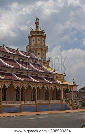 Cao Dai Temple In Tay Ninh Near Ho Chi Minh City Saigon In Vietnam