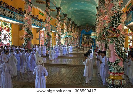 Tay Ninh, Vetnam - July 26: Religious Ceremony In Cao Dai Temple On July 26, 2012 In Tay Ninh, Vietn