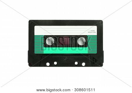 Audio Compact Cassette. Analog Tape Format For Audio Playing And Recording. Green Audio Cassette Iso