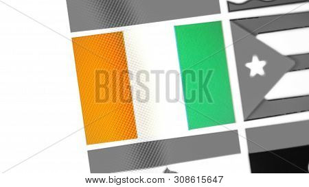 Cote Divoire National Flag Of Country. Cote Divoire Flag On The Display, A Digital Moire Effect. New