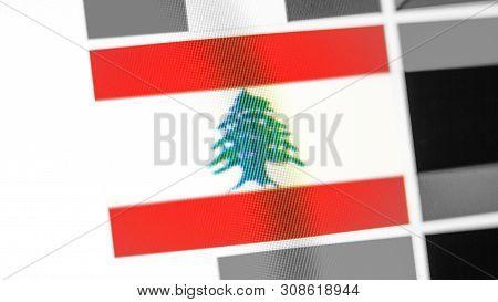 Lebanon National Flag Of Country. Lebanon Flag On The Display, A Digital Moire Effect. News Of Geogr