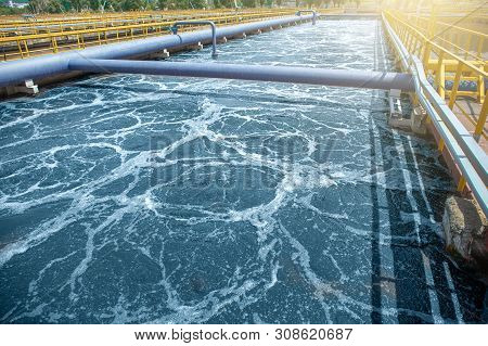 Tank Or Reservoir For Biological Purification And Cleaning Of Dirty Sewage Water By Active Sludge. M