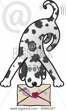 Dalmatian dog with a mail envelope in his mouth poster