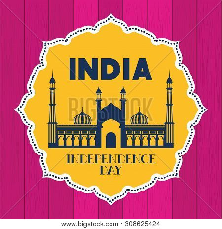 Lace With Indian Jama Masjid Temple Vector Illustration Design