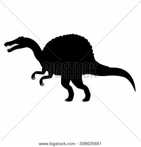 Vector Flat Black Silhouette Of Spinosaurus Dinosaur Isolated On White Background