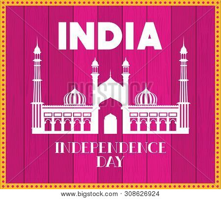 Indian Jama Masjid Temple With Pink Background Vector Illustration Design