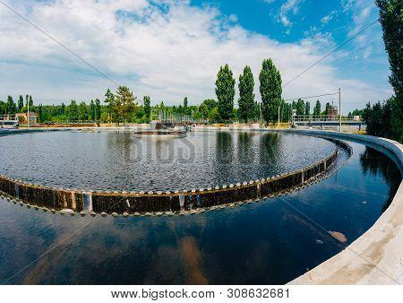 Modern Sewage Treatment Plant. Sedimentation Drainage Round Form.