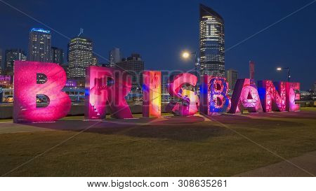 Brisbane, Australia-march, 7, 2017: Side On View Of The G20 Brisbane Letters At Night