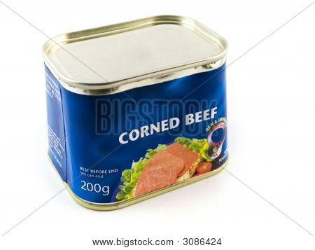 Corned Beef Tin Can On White Background
