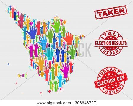 Democracy Tuscany Region Map And Seals. Red Rectangle Taken Distress Seal. Bright Tuscany Region Map