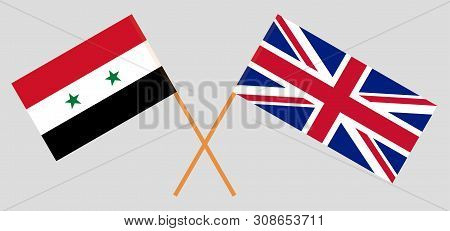 The Uk And Syria. British And Syrian Flags. Official Colors. Correct Proportion. Vector Illustration
