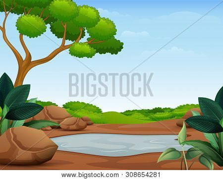 Illustration Of Nature Scene With Muddy Puddle