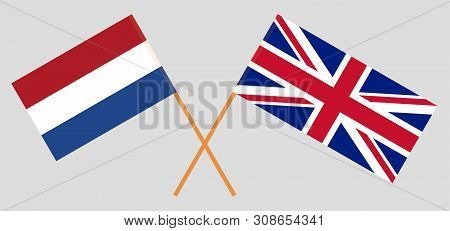 The UK and Netherlands. British and Netherlandish flags. Official colors. Correct proportion. Vector illustration poster