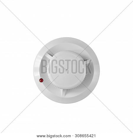 Smoke Detector And Fire Detector On A White Background.fire Alarm Flat Lay.