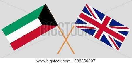 The UK and Kuwait. British and Kuwaiti flags. Official colors. Correct proportion. Vector illustration poster