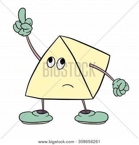 Funny Triangle Smiley With Legs And Eyes Shows An Indecent Gesture With His Finger. Caricature Color