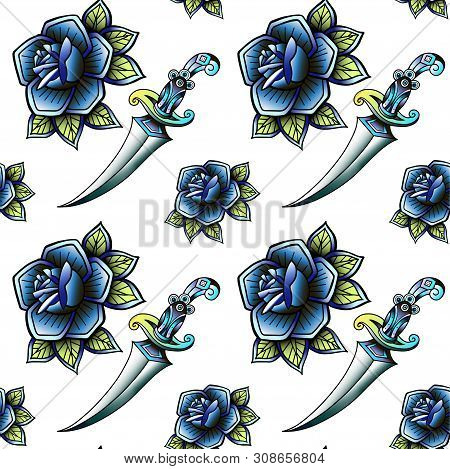 Old School Retro Vintage Doodle Tattoo Seamless Pattern.rose,knife.continuous Openwork Emblems Symbo