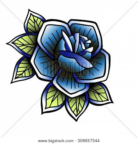 Old Tattooing School Colored Icon With Roses Symbol Isolated Vector Line Art Illustration. Oldschool