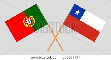 Chile And Portugal. Chilean And Portuguese Flags. Official Colors. Correct Proportion. Vector Illust