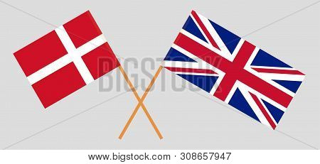 The UK and Denmark. British and Danish flags. Official colors. Correct proportion. Vector illustration poster