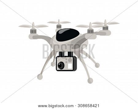 Drone Flat Vector Color Illustration. Cartoon Flying Copter With Camera, Quad Rotor, Quadcopter, Avi