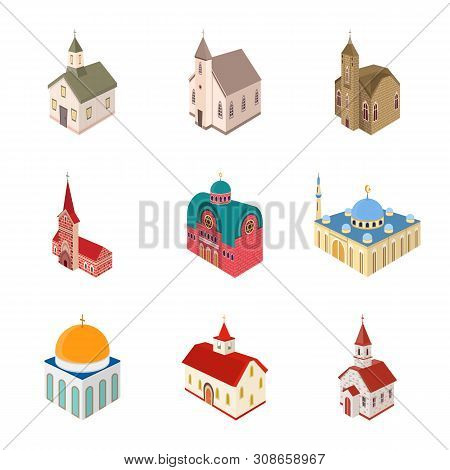 Vector Illustration Of Architecture And Building Logo. Collection Of Architecture And Clergy Stock V