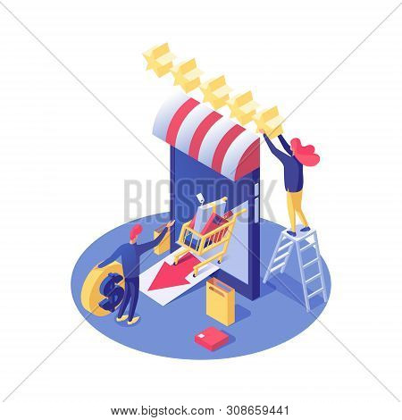 Online Shop Rating Vector Isometric Illustration. Smartphone With Awning And Ranking Stars, Buyer Or