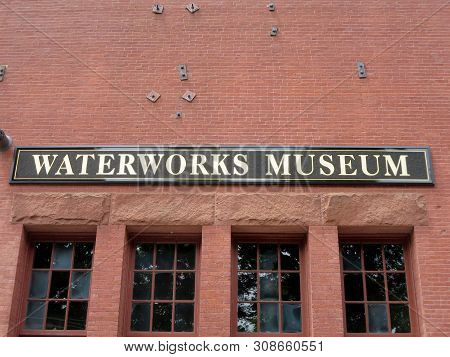Boston - June 9, 2014:  Historic Waterworks Museum Sign Which Is Located On The Original Chestnut Hi