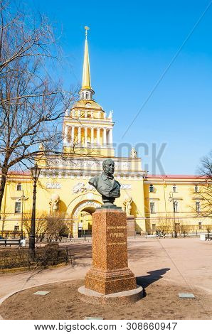 Saint Petersburg, Russia - April 5, 2019. Bust Of The Great 19th Century Diplomat And Statesman Alex